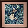 Michael Allen Hampshire (1933-2013) Framed Needlepoint Tapestry with Dog