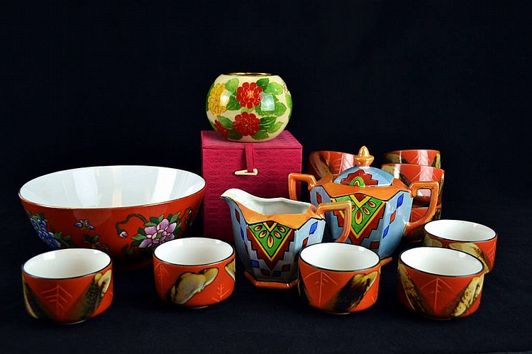 11 Asian cups, cream, sugar, bowl & Cloisonne
