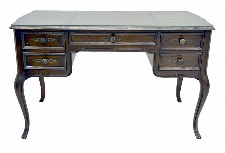 Leather top desk with glass.