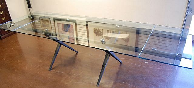 Large Glass Arts & Crafts Table with Extensions