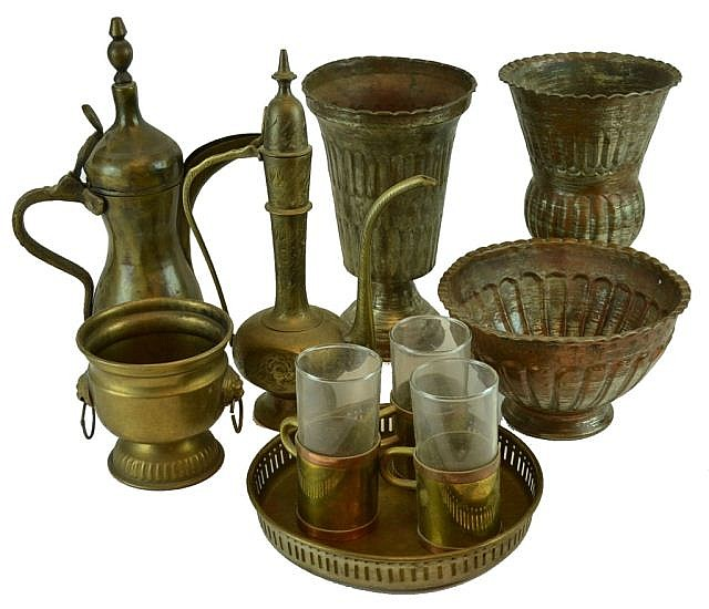 Metal items, tea pots, vases & bowl, tray, etc.