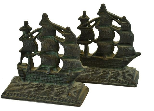 Cast Iron ship bookends, Constitution.