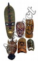 Painted wooden masks, 6 pieces.
