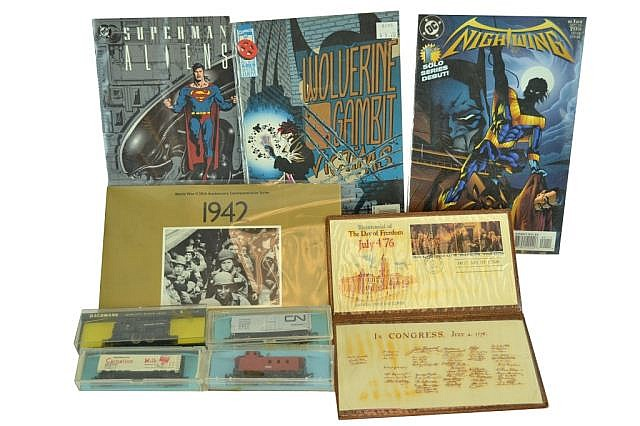 Misc. lot. Comic books, stamps, Atlas train cars.