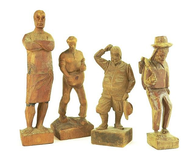 4 carved wooden figures, tallest is  approx. 7.5