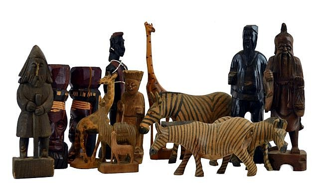 Carved wooden statues, Kenya zebra, figures, etc.