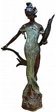 Art Nouveau Style Life Size Bronze Garden Statue