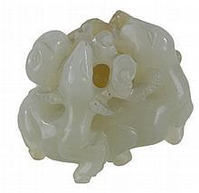 Fine Carved Antique Jade Stag Trio Sculpture