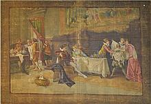 Signed 18th Century Continental Painted Tapestry