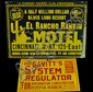 2 tin signs, El Rancho Motel, Gavitt's System