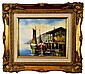Framed Oil on Board, Two Boats at a Wharf