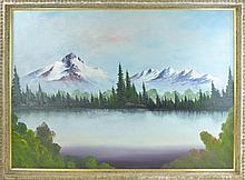 Yancey Signed Mountain Scene Oil Painting