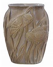 Phoenix Owl Art Glass Vase