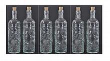 6 Pc. Vintage Grape Pattern Glass Bottle Lot