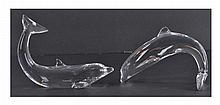Pair of Baccarat Crystal Dolphin Figurines