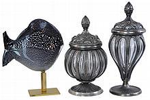 Renato Aratre Murano Art Glass Fish & Jar Pair