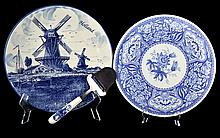 4 Blue Porcelain Chargers, Spode, Delft  & Asian