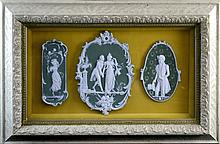 Green Jasperware Plaque Trio, Shadow Box
