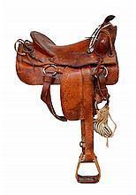 Reddish Brown Leather Western Saddle