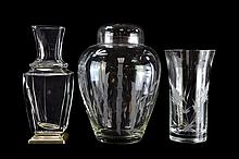 3 Pieces of Crystal, Etched Jar & 2 Vases