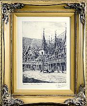 Antique Signed Etching: Beaune - Caen de Hospices