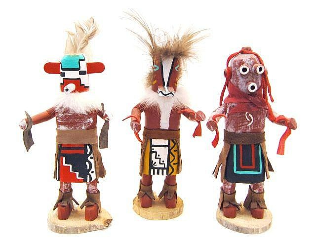 3 Miniature Snow, Mud Head, & Chipmunk Kachinas