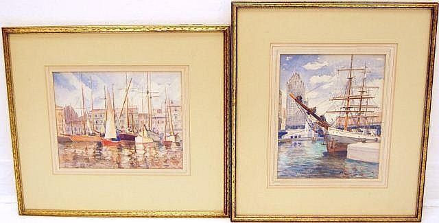 Pair of Signed Harbor Scene Watercolor Paintings