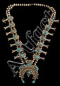Navajo Bisbee Turquoise Squash Blossom Necklace