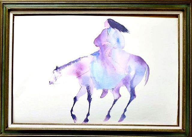 Framed print, American Indian, man on horse,