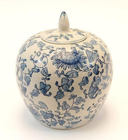 Chinese Cobalt Chrysanthemum Ceramic Jar