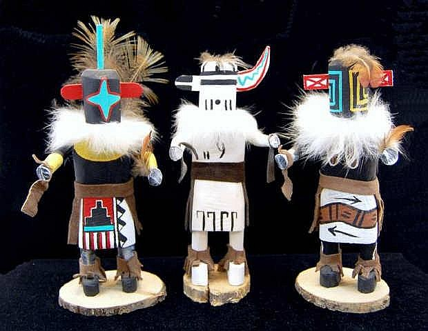 3 Miniature Kachina Dolls w/ Hilili, Chasing Star