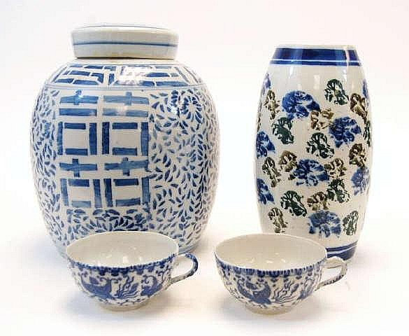 Asian Style Lidded Jar, Vase & Tea Cups
