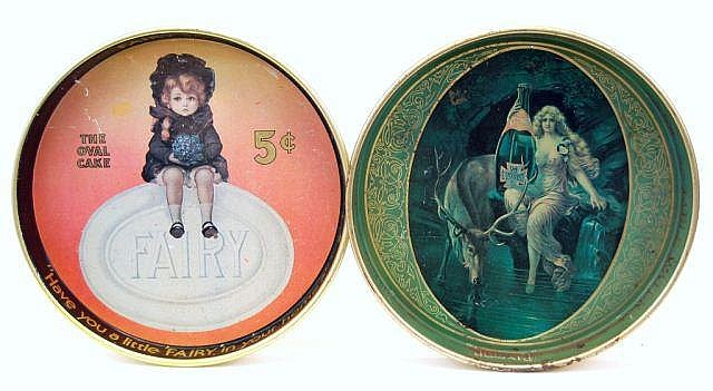 Vintage Clysmic and Fairy Soap Tin Ad Trays