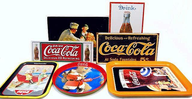 Reproduction Vintage Tin Signs & Trays w Coca-Cola