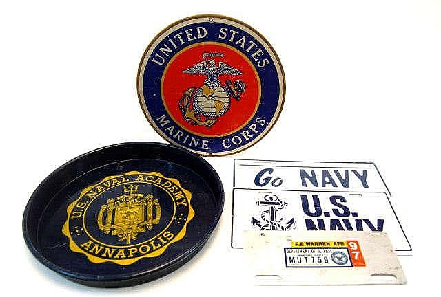U.S. Military Tin Signs and Tray