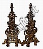 Elaborate English Brass Lion Andirons