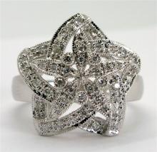 0.24ct Diamond Star 14k White Gold Ring