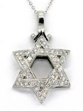 0.86ct Diamond Star of David14k White Gold Necklace