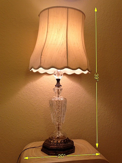 Vintage Crystal and Brass Lamp