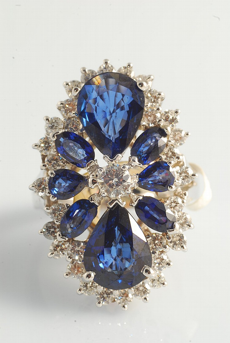 Sapphire (5.76ct) and Diamond (1.37ct) Ring