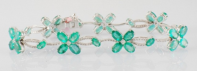 13.48ct Emerald and Diamond Bracelet