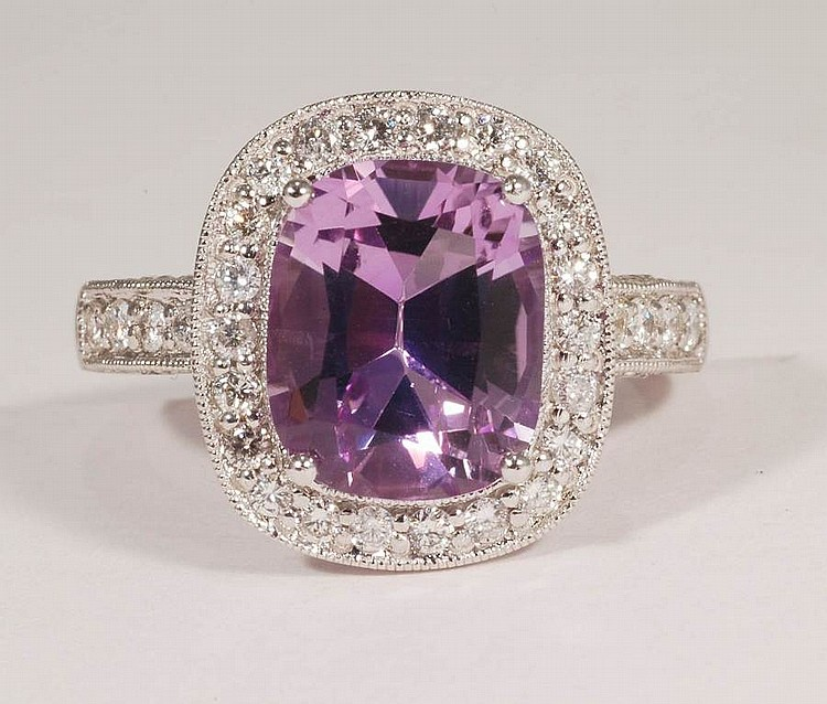 3.72 Amethyst and Diamond Ring