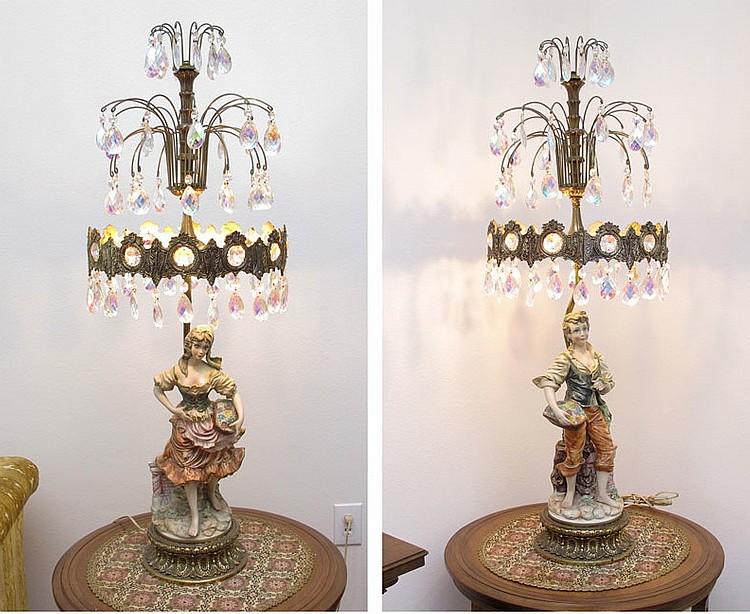 Pair Vintage Prism Lamps