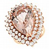 14.52ct Pear Shaped Morganite and Diamond Ring