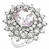 5.56ct Kunzite and Diamond Ring in White Gold