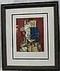 Pablo Picasso, Visage Sur Fond Rouge, Pencil Signe