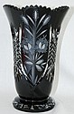Bohemia Czech Hand Cut Black Crystal Vase 10