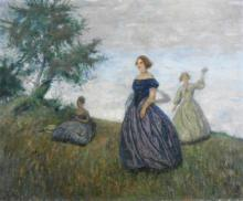 Otto Herschel, Three Woman, Original Oil on Canvas