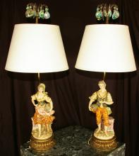 vintage Prisms Glass / Porcelain Lamps / Pair