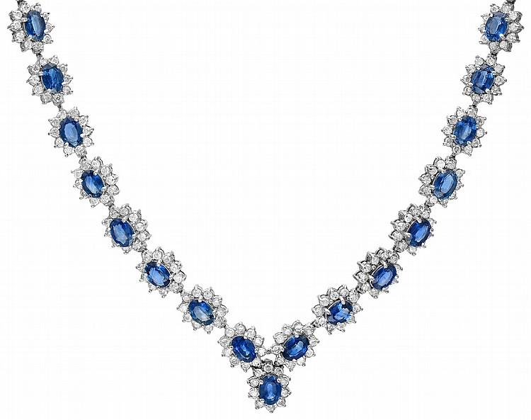 14K 11.93ct Diamonds & 32.40ct Sapphire Necklace